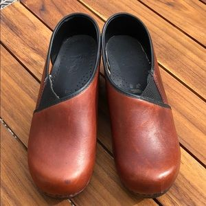 Dansko Brown Clog Leather Stretch Panel